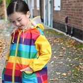 雨衣兒童彩虹雨衣雨披寶寶彩虹雨衣彩虹斗篷雨衣童雨披防水戶外【快速出貨八五折鉅惠】