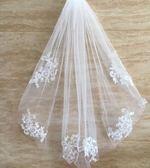 新娘頭紗韓式婚紗短款簡約素紗蓬蓬紗白色