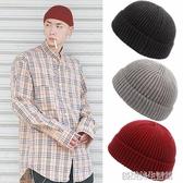 短款圓頂流氓帽子男韓針織冷帽瓜皮帽痞子帽女嘻哈帽冬街舞毛線帽