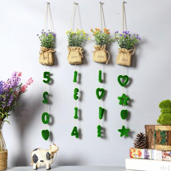 【BlueCat】字母吊飾仿真小花草壁掛式盆栽