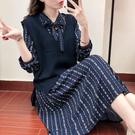 大尺碼女裝秋季洋氣套裝胖妹妹雪紡連身裙洋...