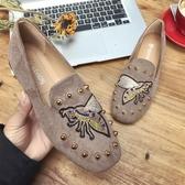社會豆豆鞋女春季2019新款韓版百搭時髦辣媽同款紅人單鞋
