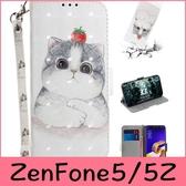 【萌萌噠】ASUS ZenFone5 5Z ZS620KL ZE620KL 可愛卡通貓咪動物彩繪側翻皮套 全包磁扣可插卡