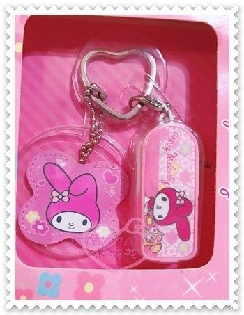 ♥小花花日本精品♥Hello Kitty 美樂蒂Melody投射器鑰匙扣鑰匙圈附鎖匙套大臉坐姿花朵 00912501