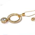 水鑽圈與圓水晶鑽金色長項鍊
