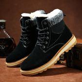 冬季雪地靴男新款短靴加絨馬丁靴子