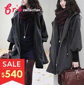 【brs】 連帽 棉羊絨 長版 修身 大衣 外套 2色 現貨