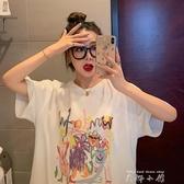 網紅衣服白色短袖T恤女2020年夏季新款韓版寬鬆中長款洋氣上衣潮 米娜小鋪