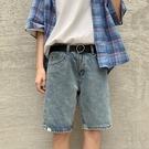 網紅港風牛仔短褲男修身直筒五分褲2021新款夏季韓版潮流休閑中褲