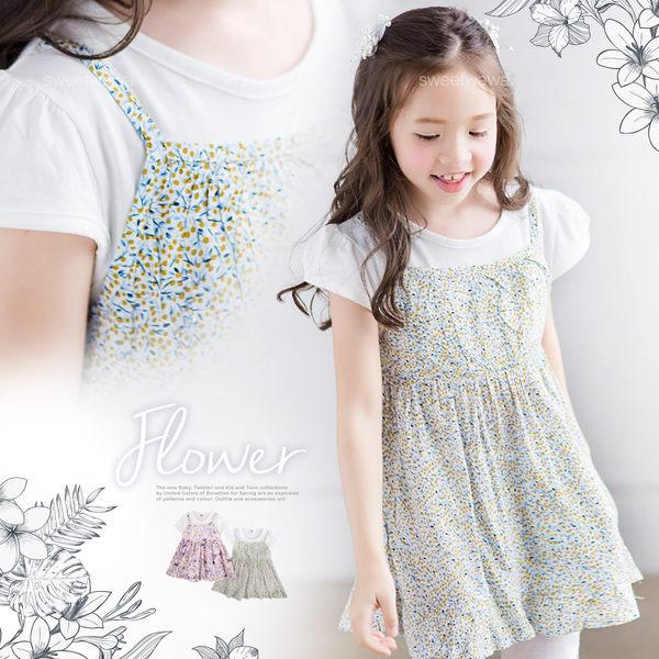 浪漫彩花漾假兩件小洋裝上衣(250783)★水娃娃時尚童裝★