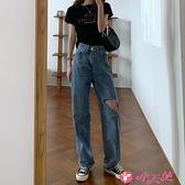 牛仔褲 2021年新款夏季薄款百搭寬鬆老爹破洞高腰直筒牛仔褲子女 小天使 99免運