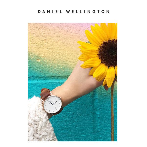Daniel Wellington DW 手錶 34mm銀框 Dapper 淺棕真皮皮革錶