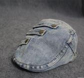 做舊牛仔布街頭復古平頂貼布個性貝雷帽yhs3335【123休閒館】