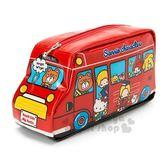 〔小禮堂〕Sanrio大集合 巴士造型防水拉鍊筆袋《紅》化妝包.收納包.鉛筆盒 4901610-98268