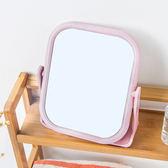 ✭慢思行✭【Q25】雙面旋轉梳妝鏡 方形 圓形 小鏡子 公主鏡 360°旋轉 化妝台  辦公桌 北歐風