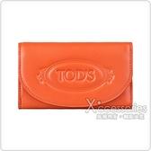 TOD'S STAMPED橘字壓印LOGO小牛皮8卡扣式三折短夾(橘)