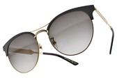 GUCCI 太陽眼鏡 GG0075SK 002 (黑金-漸層灰鏡片) 潮流名媛眉框款 # 金橘眼鏡