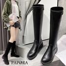 PAPORA保暖顯瘦素面套腳長靴騎士靴K...
