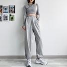灰色運動褲女寬鬆束腳春秋薄款2021新款顯瘦百搭夏季闊腿休閒衛褲【快速出貨】