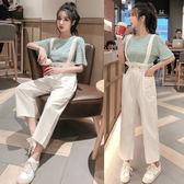 VK精品服飾 韓系復古寬鬆條紋T恤休閒背帶套裝短袖褲裝