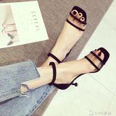 透明貓跟涼鞋女夏季新款百搭鏤空小清新一字扣高跟鞋5cm細跟 ciyo黛雅