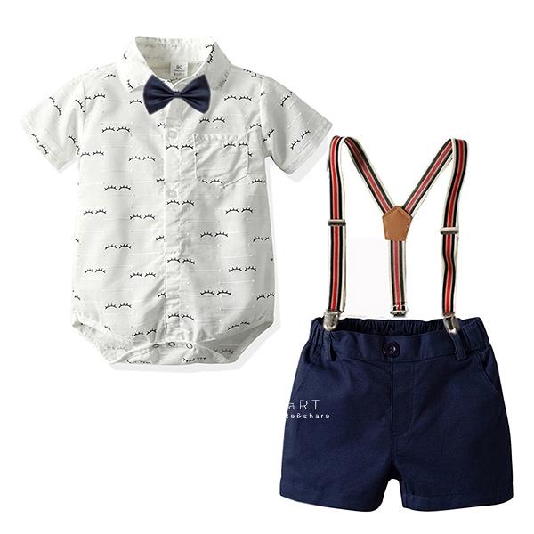 睫毛短袖襯衫三角包屁衣套裝 短袖包屁衣 連身衣 嬰兒裝 包屁衣 套裝 短褲