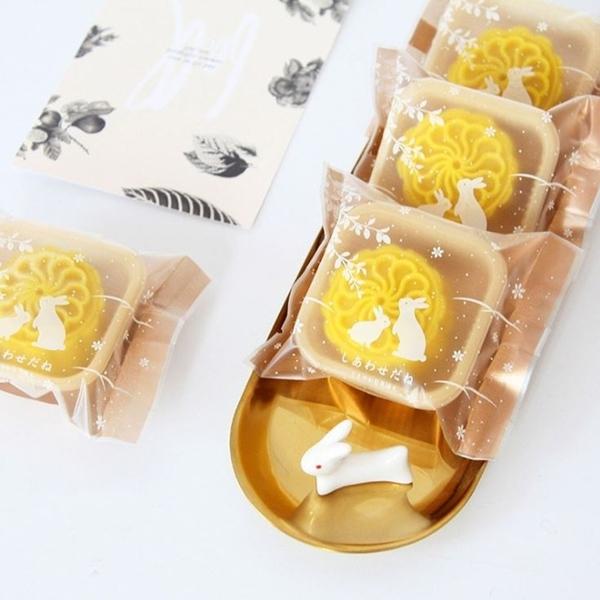 [拉拉百貨]9*11.5 金色 兔子 霧面 機鋒袋 月餅袋 點心 包裝袋 中秋節 雪Q餅