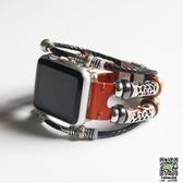 蘋果錶帶 雙圈復古皮革apple watch蘋果手錶帶手工iwatch1/2/3男女38/42mm 雙11