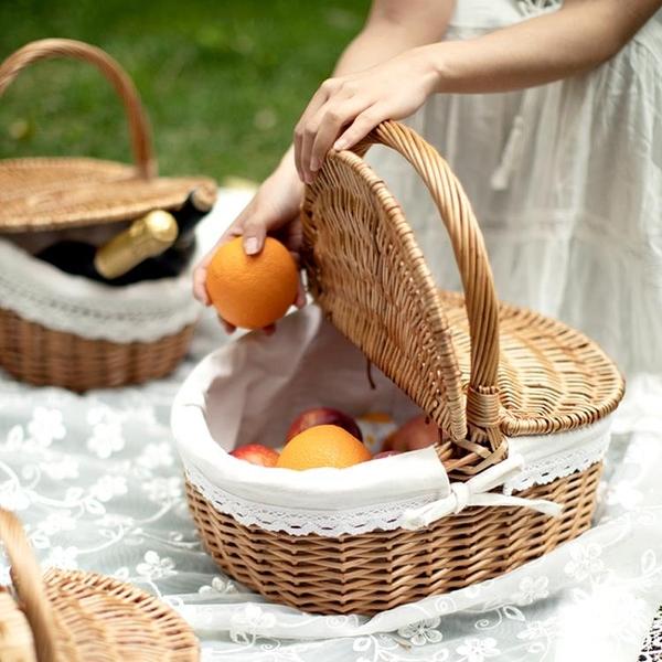 柳編野餐籃手提籃收納筐竹籃