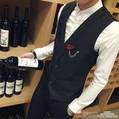 西服背心 新款休閒西裝小背心短款純色韓版修身定制酒吧工作西服潮男裝 二度3C