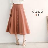 東京著衣【KODZ】排釦珍珠小格紋長裙聯名款-S.M.L(171794)