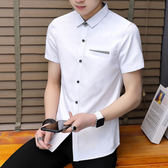 青少年夏季短袖格子襯衫男韓版修身男士短袖襯衣工作服上衣潮(全館滿1000元減120)