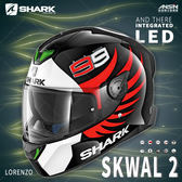 [中壢安信]法國 SHARK SKWAL 2 彩繪 WARHEN 白黑白 新版 LED 全罩 安全帽 定位燈 夜間燈