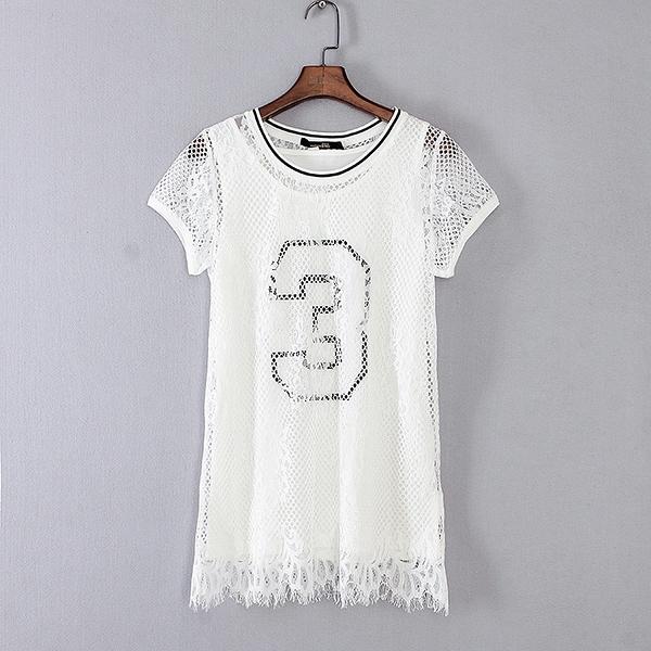 [超豐國際]格春夏裝女裝白色蕾絲鏤空兩件套休閑T恤 4202(1入)