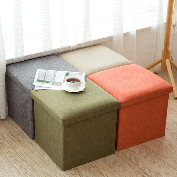 [正方] 多功能儲物凳 收納儲物凳 方形 沙發 椅凳 折疊收納椅 收納凳 椅子 收納 居家生活【RS925】