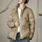 側盤釦抽繩白鴨絨羽絨外套短大衣 【74-25-82001-20】ibella 艾貝拉