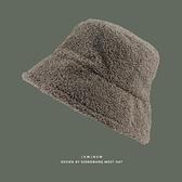 日本大檐漁夫帽 絨素色羊羔毛保暖百搭寬檐盆帽【少女顏究院】
