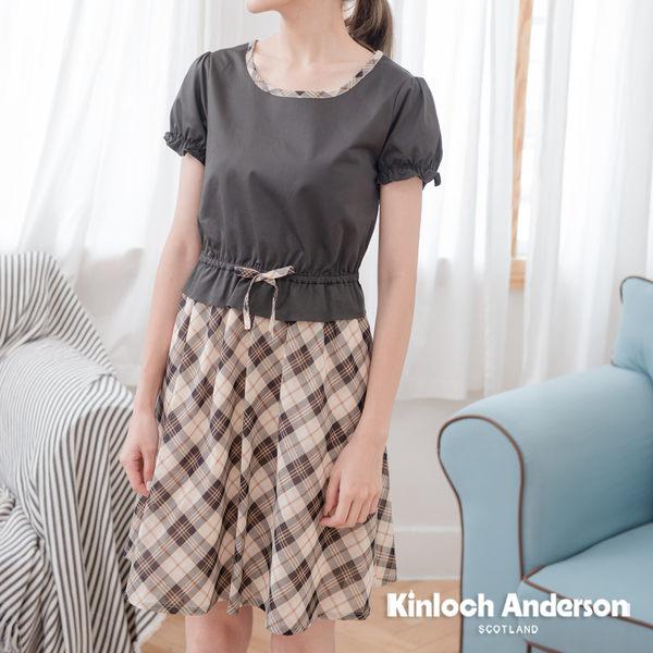 【Kinloch Anderson金安德森女裝】圓領拼接腰抽繩綁帶洋裝 洋裝 修身 學院風