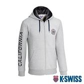 K-SWISS Sleeve CA Print Jkt刷毛連帽外套-女-灰