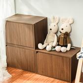 樂嫚妮 收納櫃 木門櫃-附門-淺胡桃木色-3入組