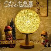小夜燈 臥室床頭個性調光歐式學生小檯燈藤球創意浪漫歐式喂奶檯燈「Chic七色堇」