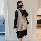 孕妇装洋裙 裝套裝外出時尚款2021新款中長款連衣裙 毛衣背心兩件套【快速出貨八折搶購】