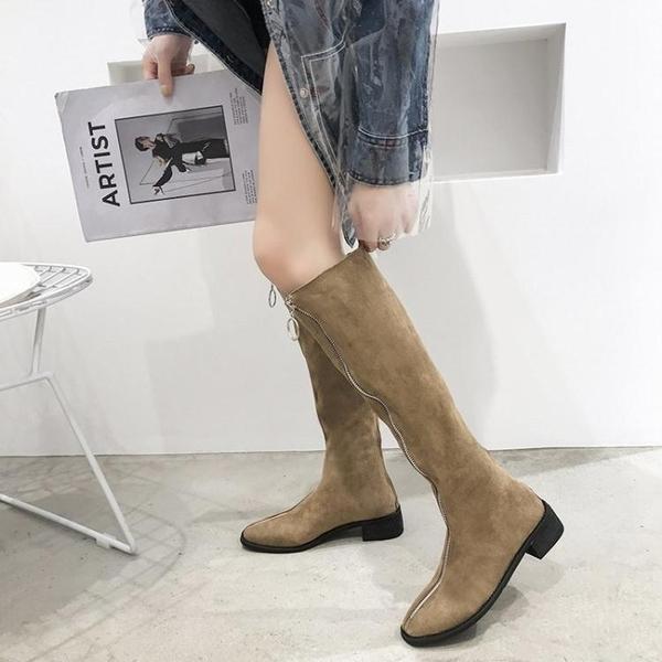 快速出貨 長靴方頭前拉錬個性顯瘦長筒靴女潮秋季新款百搭粗跟瘦瘦時裝長靴
