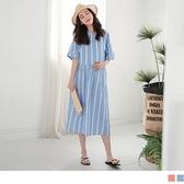 《MA0308-》高含棉條紋翻領褶袖孕婦洋裝 OB嚴選
