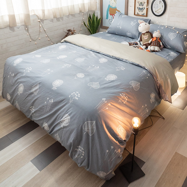 縹藍樹梢 Q3加大床包與雙人新式兩用被五件組 100%精梳棉 台灣製