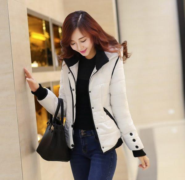 卡樂store...韓版短款羽絨棉外套羽絨棉羅紋拼接保暖 3色 白色 S-2XL #yy258(版型偏小)