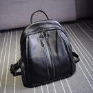 後背包-真皮-大容量牛皮休閒黑色女雙肩包2款73yi49[巴黎精品]