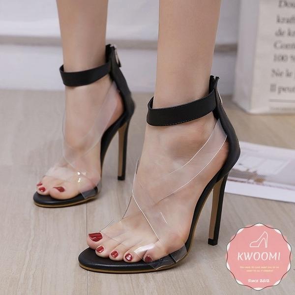 高跟涼鞋 果凍透明交叉蘿莉風細跟 高跟鞋 晚宴鞋 新娘鞋*KWOOMI-A43