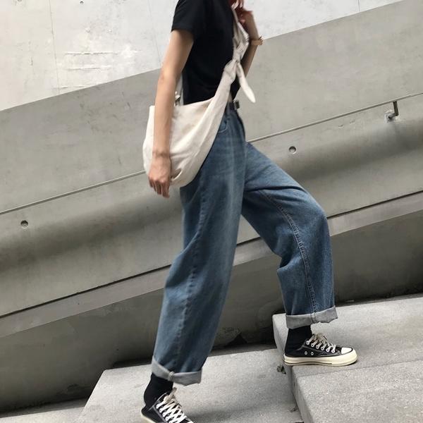 2021年新款春季韓版復古高腰顯瘦老爹褲子寬鬆直筒闊腿牛仔褲女潮 漫步雲端