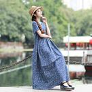 棉麻洋裝連身裙8285棉麻風短袖連身裙夏季新款韓版中長款印花裙子MA110依佳衣